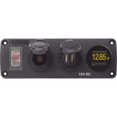 Blue Sea 4366 Water Resistant USB Accessory Panel - Circuit Breaker, 12V Socket, Dual USB Charger, Mini Voltmeter [4366]