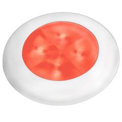 Hella Marine Red LED Round Courtesy Lamp - White Bezel - 24V [980508241]