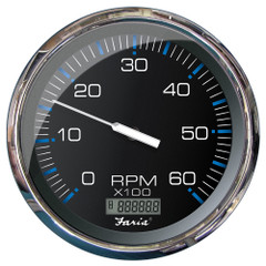 "Faria 5"" Tachometer w/Digital Hourmeter (6000 RPM) (Gas) (Inboard) Chesapeake Black w/Stainless Steel [33763]"