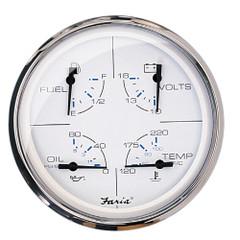 "Faria 5"" Multifunction Gauge Chesapeake White w/Stainless Steel - Fuel, Oil, Water  Voltmeter [33864]"