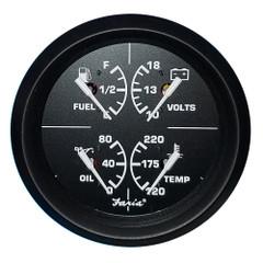 "Faria 4"" 4-in-1 Multifunction Gauge - Voltmeter (10-16) Fuel Level - Oil PSI (80 PSI) - Water Temp (100-250F) [32851]"