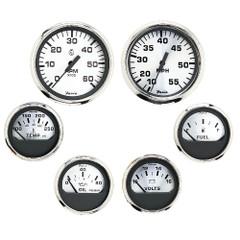 Faria Spun Silver Box Set of 6 Gauges - Speed, Tach, Voltmeter, Fuel Level, Water Temperature  Oil [KTF0184]