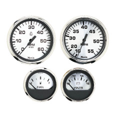 Faria Spun Silver Box Set of 4 Gauges f/Outboard Engines - Speedometer, Tach, Voltmeter  Fuel Level [KTF0182]