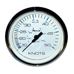 "Faria 4"" Speedometer 50 Knot Chesapeake White Stainless Steel Bezel [F33822]"