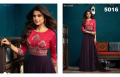 Violet and Magenta color Silk and Georgette Fabric Floor Length Gown