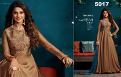 Copper color Silk and Georgette Fabric Floor Length Gown
