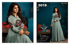 Soft Blue color Silk and Georgette Fabric Floor Length Ban Neck Design Full Sleeve Gown
