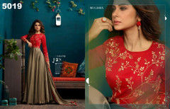 Golden and Red color Silk and Georgette Fabric Floor Length Full Sleeve Gown