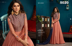 Peach color Silk and Georgette Fabric Floor Length Full Sleeve Ban Neck Design Gown
