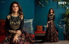 Black color Satin Silk Fabric Floor Length Full Sleeve Gown