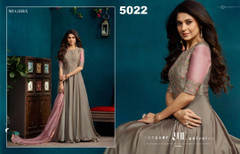 Grey color Silk and Georgette Fabric Floor Length Full Sleeve Gown