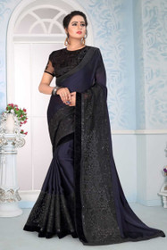 Navy Blue color Satin and Georgette Fabric Saree