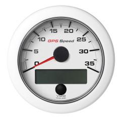 """VDO 3-3\/8"""" (85mm) OceanLink GPS Speedometer 0-35 - White Dial  Bezel [A2C1352080001]"""