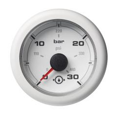 """VDO 2-1\/16"""" (52MM) OceanLink Transmission Oil Pressure 30 Bar \/ 440 PSI White Dial  Bezel [A2C1066050001]"""