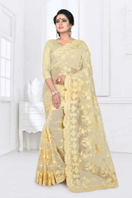 Yellow color Net Fabric Saree