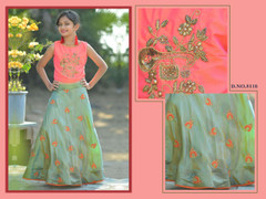 Light Pista Green color Silk Fabric Skirt Top