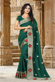 Green color Silk Fabric Saree