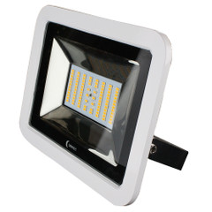 Lunasea 35W Slimline LED Floodlight, 12\/24V, Cool White, 4800 Lumens, 3 Cord - White Housing [LLB-36MN-81-00]
