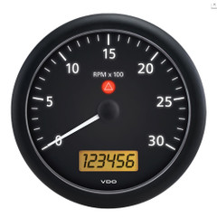 "VDO ViewLine Onyx 3,000 RPM 5"" (4 3\/8"" (110mm) Mounting) Tachometer w\/2 Hourmeters, Clock  Voltmeter - 12\/24V [A2C53194597-S]"