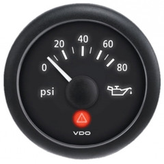 VDO ViewLine Onyx 80 PSI Oil Pressure Gauge 12\/24V w\/VDO Sender  US Thread Adapters [A2C53412998-K1]