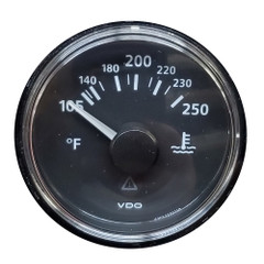 VDO ViewLine Onyx 250F Water Temperature Gauge 12\/24V with VDO Sender  US Thread Adapters - Bezel NOT Included [A2C53413355-K1]