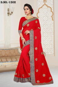 Red color Georgette Fabric Saree