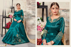 Green color Full Sleeves Floor Length Mulberry Silk Fabric Anarkali style Suit