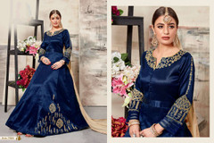 Royal Blue color Full Sleeves Floor Length Mulberry Silk Fabric Anarkali style Suit