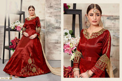 Red color Full Sleeves Floor Length Mulberry Silk Fabric Anarkali style Suit