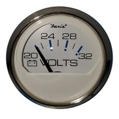 """Faria 2"""" Voltmeter 20-32 VDC Chesapeake White - Stainless Steel Bezel [13860]"""