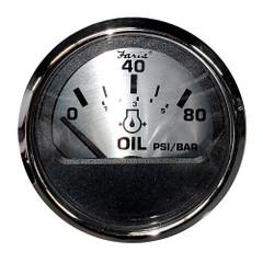 "Faria 2"" Oil Pressure Gauge (80 PSI) - Spun Silver [16002]"