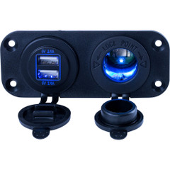 Sea-Dog Double USB  Power Socket Panel [426505-1]