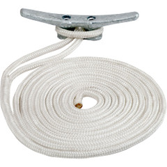 "Sea-Dog Double Braided Nylon Dock Line - 5\/8"" x 50 - White [302116050WH-1]"