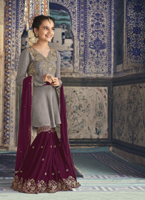 Grey and Wine shade Georgette Fabric Full Sleeves Embroidered Sharara style Kids Suit