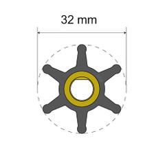 Albin Pump Premium Impeller Kit - 32 x 8 x 12mm - 6 Blade [06-01-001]