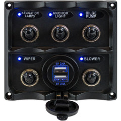 Sea-Dog Water Resistant Toggle Switch Panel w\/USB Power Socket - 5 Toggle [424617-1]