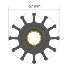 Albin Pump Premium Impeller Kit 57 x 16 x 48.2mm - 12 Blade - Spline Insert [06-01-014]