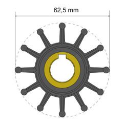 Albin Pump Premium Impeller Kit 62.5 x 16 x 32mm - 12 Blade - Key Insert [06-01-016]