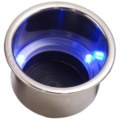 Sea-Dog LED Flush Mount Combo Drink Holder w\/Drain Fitting - Blue LED [588074-1]