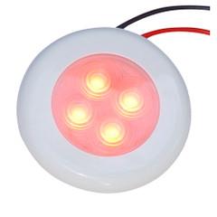 Aqua Signal Bogota 4 LED Round Light - Red LED w\/White Plastic\/Optional Chrome Housing [16411-7]