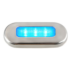 Aqua Signal Cordoba LED Oblong Oval Courtesy Light - 12V - Blue w\/Stainless Steel Housing [16431-7]