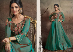 Two tone Green color Soft Tapeta Silk Fabric Floor Length Gown