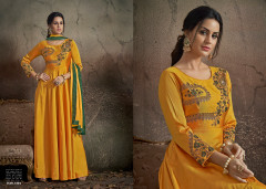 Yellow color Soft Tapeta Silk Fabric Floor Length Centre Cut Gown