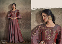 Onion color Soft Tapeta Silk Fabric Floor Length Gown