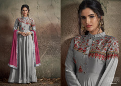 Grey color Soft Tapeta Silk Fabric Floor Length Gown