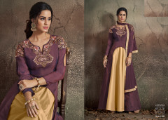 Purple and Golden color Soft Tapeta Silk Fabric Floor Length Centre Cut Gown