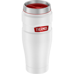 Thermos 16oz Stainless Steel Travel Tumbler - Matte White w\/Red Badge - 7 Hours Hot\/18 Hours Cold [SK1005WHR4]