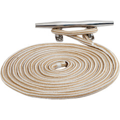 "Sea-Dog Double Braided Nylon Dock Line - 3\/8"" x 20 - Gold\/White w\/Tracer [302110020G\/WT-1]"