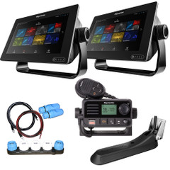 "Raymarine Axiom 9 RV Combo Boat in a Box w\/2 - 9"" Axiom Displays, RV-100 Transducer, LNC2 Charts, Ray53, Switch  Cables [T70475]"
