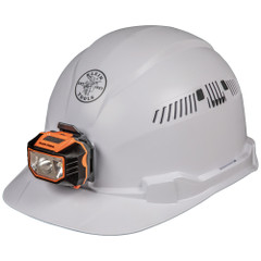 Klein Tools Hard Hat Vented Cap Style White w\/Headlamp [60113]